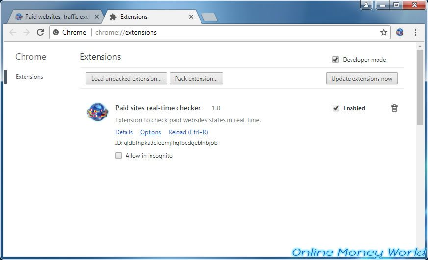 List of extensions installed in Google Chrome