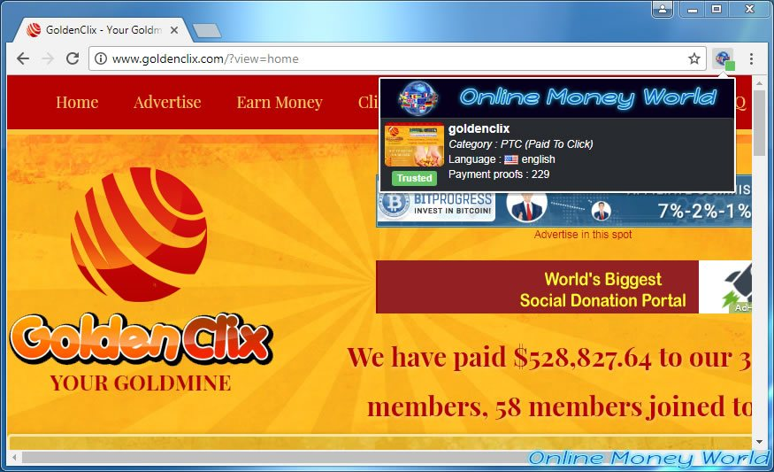 Automatic add of a site on Online Money World